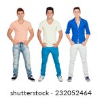 three casual young men isolated ... | Shutterstock . vector #232052464