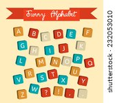 alphabet on a baby cubes vector.... | Shutterstock .eps vector #232053010