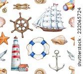 seamless nautical pattern   Shutterstock . vector #232065724