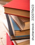 stack of old books isolated on...   Shutterstock . vector #232070623