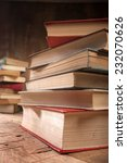 a stack of old books on the...   Shutterstock . vector #232070626