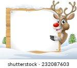Cartoon Reindeer Christmas Sign ...