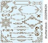 baroque art set on blue   Shutterstock .eps vector #232098424