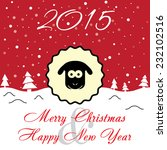 greeting card with sheep on red ... | Shutterstock .eps vector #232102516