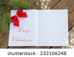 christmas card with a sheet of... | Shutterstock . vector #232106248