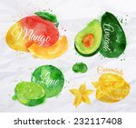 exotic fruit set drawn... | Shutterstock .eps vector #232117408