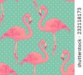 seamless flamingo bird pattern. ... | Shutterstock .eps vector #232118173