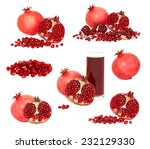 set ripe pomegranates with... | Shutterstock . vector #232129330