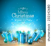 christmas greeting card with...   Shutterstock .eps vector #232142680