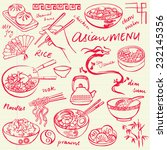 chinese food icons vector... | Shutterstock .eps vector #232145356