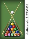 Billiard Elements Set Vector...