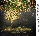 christmas fir tree with... | Shutterstock . vector #232153180