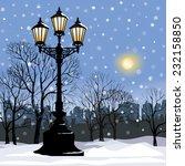 Winter City Landscape. Park...