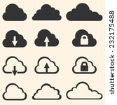 vector set of cloud icons | Shutterstock .eps vector #232175488