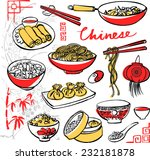 chinese food icons drawing...