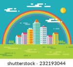 buildings and rainbow in city