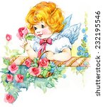 angel and roses. birthday and...   Shutterstock . vector #232195546