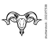 ram head twisted horns mountain ... | Shutterstock .eps vector #232197538