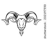 ram head twisted horns mountain ... | Shutterstock .eps vector #232197550