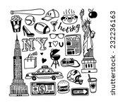 hand drawn new york doodles    Shutterstock .eps vector #232236163