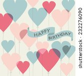 birthday card with cute heart...   Shutterstock .eps vector #232276090