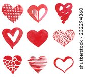 set of watercolor hearts.... | Shutterstock .eps vector #232294360