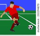 soccer player kicks the ball. | Shutterstock .eps vector #232294870