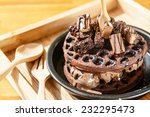 chocolate waffle with ice cream  | Shutterstock . vector #232295473