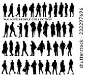 silhouettes of walking people ... | Shutterstock .eps vector #232297696