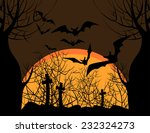 silhouettes of bats over the... | Shutterstock .eps vector #232324273