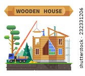 wooden house in the forest.... | Shutterstock .eps vector #232331206