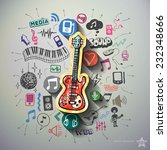 music collage with icons... | Shutterstock .eps vector #232348666