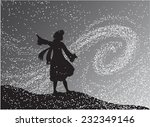 girl in the snowfall looking at ...   Shutterstock .eps vector #232349146