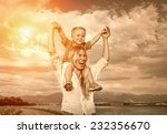 happiness son seating on the... | Shutterstock . vector #232356670
