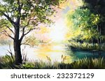 Oil Painting Landscape   Lake...
