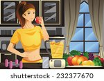 A vector illustration of healthy woman making fruit juice in the kitchen