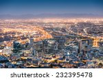 Small photo of Aerial view of Cape Town from Signal Hill after sunset during the blue hour - South Africa modern city with spectacular nightscape panorama