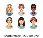 hand drawn cartoon faces crowd... | Shutterstock .eps vector #232406290