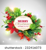 christmas card with floral... | Shutterstock .eps vector #232416073
