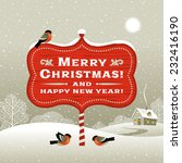 christmas signboard and winter... | Shutterstock .eps vector #232416190