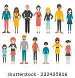 collection of flat people... | Shutterstock .eps vector #232435816
