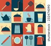 kitchen utensils flat icons set | Shutterstock .eps vector #232474090