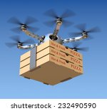 pizza delivery in the drone | Shutterstock . vector #232490590