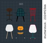 set of colorful chairs. vector... | Shutterstock .eps vector #232492366