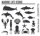 marine life icons | Shutterstock .eps vector #232499773