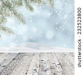 winter background with wooden... | Shutterstock . vector #232523800