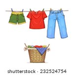 clothes on rope and basket with ...   Shutterstock .eps vector #232524754