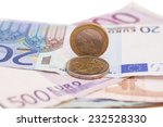 money euro coins and banknotes  | Shutterstock . vector #232528330