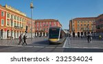 Small photo of NICE, FRANCE - JUNE 3, 2014: Views of the Place Massena. Square is located in the city center and is the most popular destination among tourists. There are many boutiques, cafes and restaurants.