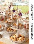 wedding cookies decorated with...   Shutterstock . vector #232535920